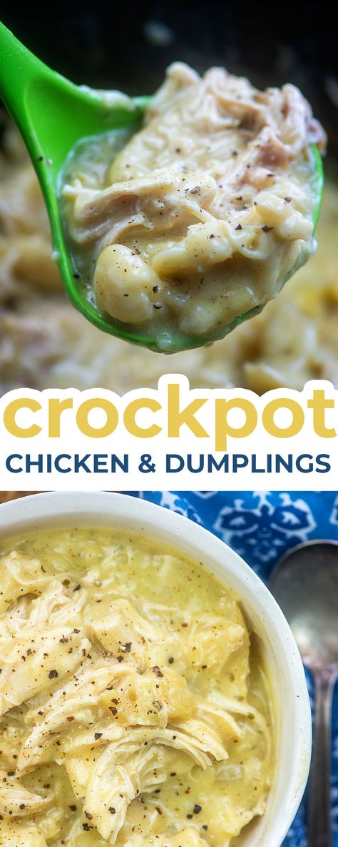 Slow cooker chicken and dumplings is a favorite in my house. Its easy to throw the ingredients in your slow cooker and when you come back youll have a big bowl of comfort food ready for you. We like lots of dumplings and this recipe doesnt disappoint! Easy Chicken Recipes, Easy Dinner Recipes, Easy Meals, Easy Crockpot Chicken Recipe, Dinner Crockpot Recipes, Easy Comfort Food Recipes, Dump Meals, Crockpot Meals, Dinner Ideas