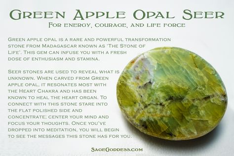 "Rare Green Apple Opal Seer Stones from Tucson for messages from the ""Stone of Life."" #CrystalHealing"