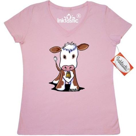 55c2b282db5 Inktastic Little Brown Cow Women s V-Neck T-Shirt By KiniArt   White Cute  Cartoon More Bell Farm Pig Chicken Sheep Clothing Apparel Tees Adult Kim  Niles
