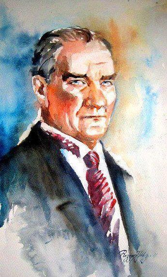 Muhsin Kokturk Adli Kullanicinin Ataturk Un Yagli Boya Resimleri Panosundaki Pin Sulu Boya Resim Poertre Resimleri