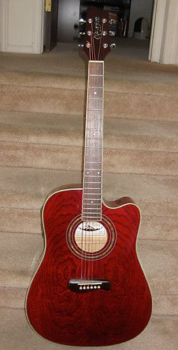 Olympia Od11cetrd Acoustic Electric Dreadnought Cutaway Guitar Made In Korea By Tacoma Beautiful Swirly As Guitar Acoustic Electric Acoustic Electric Guitar