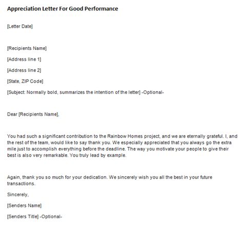 Appreciation Letter For Good Performance Writing Professional