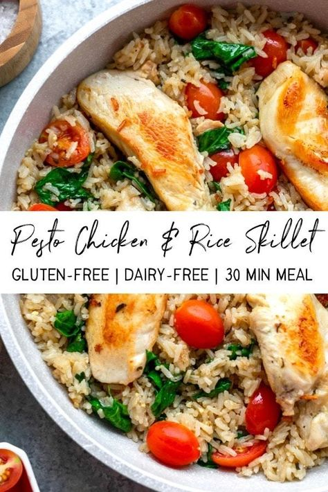 This creamy pesto chicken and rice skillet is the perfect easy weeknight meal. You can make this simple chicken skillet Healthy Weeknight Meals, Healthy Cooking, Healthy Pesto, Healthy Family Meals, East Healthy Dinners, Healthy Meals With Chicken, Healthy Meala, Dairy Free Recipes Healthy, Dairy Free Pesto