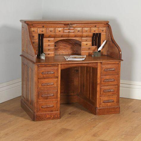 Antique English Edwardian 4ft 2 Oak Roll Top Pedestal Office