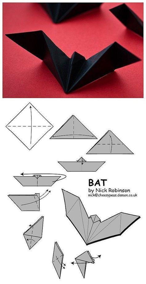 Bat paper artr halloween paper art www loveitsomuch com art artr bat halloween paper wwwloveitsomuchcom Origami Design, Instruções Origami, Origami Simple, Oragami, Easy Origami For Kids, Origami Tattoo, Origami Envelope, Dollar Origami, Origami Paper Art