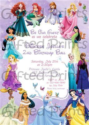 Disney Princess Pack Of 20 Party Invitations Rapunzel Cinderella Belle