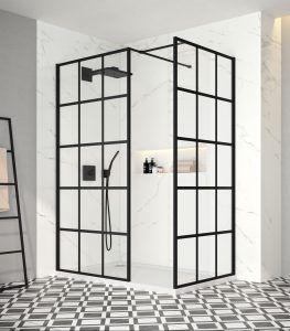 Merlyn Black Squared Showerwall In 2020 Monochrome Bathroom White Bathroom Inspiration Black Shower Doors