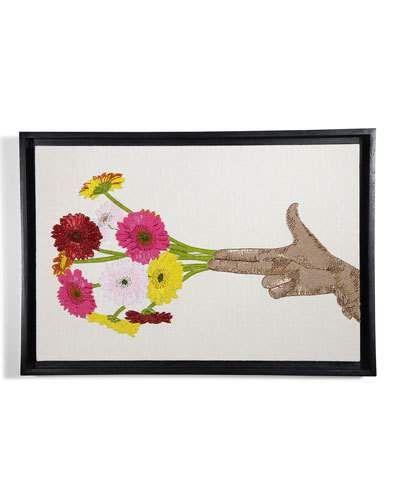 Jonathan Adler Flower Hand Beaded Wall Art Wall Art Hand Beading Wall Artwork