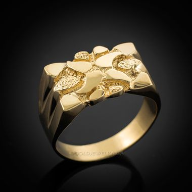 Mens Polished Gold Nugget Ring Mens Gold Rings Gold Nugget Ring Gold Ring Designs