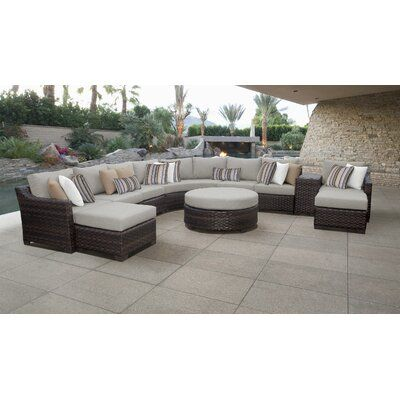 Kathy Ireland Homes Gardens By Tk Classics River Brook 11 Piece Rattan Sectional Seati Wicker Patio Furniture Set Patio Furniture Sets Wicker Patio Furniture