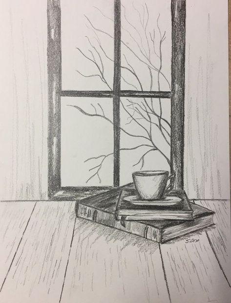 Pencil drawing original pencil sketch still life Coffee and Books fall scene