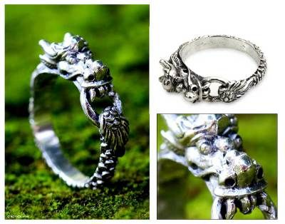 Dragon .925 Sterling Silver Ring par Peter Stone bijoux