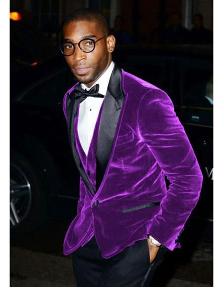 Classic Fit 1 Button Single Breasted Purple Velvet Blazer | Purple tuxedo, Purple  blazers, Tuxedo jacket