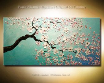 Painting On Canvas Palette Knife Cherry Blossoms Luxury Look By Nizamas Ready To Hang Painting Canvas Painting Tree Painting