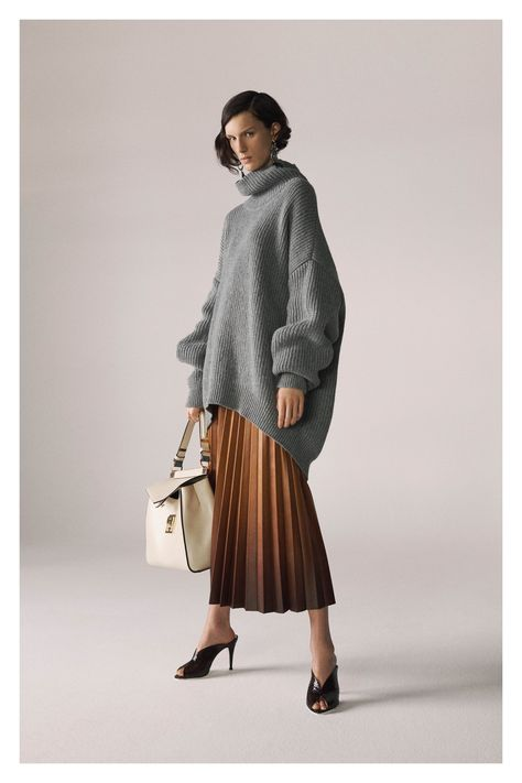 oversized, tunic length, rib, turtleneck, curved hem, cocoon, drop shoulder, volume sleeves--Givenchy Pre-Fall 2019 Collection - Vogue