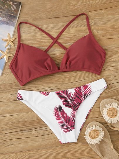 Shop Criss Cross Top With Palm Print Bikini Set at ROMWE, discover more fashion styles online. Bathing Suits For Teens, Summer Bathing Suits, Swimsuits For Teens, Cute Bathing Suits, Two Piece Swimsuits, Summer Bikinis, Cute Bikinis, Teen Bikinis, Women's Bikinis