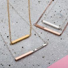 Personalised Secret Message Bar Slider Necklace