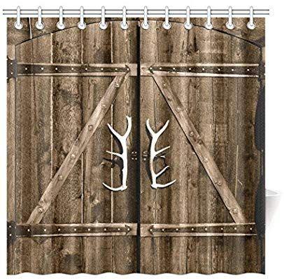 Amazon Com Interestprint Wooden Garage Barn Door Shower Curtain Vintage Rustic Country Wooden Gate Rustic Barn Wedding Decorations Wooden Garage Fabric Decor
