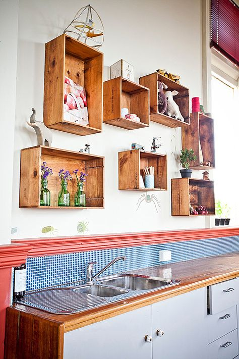 DIY Crate Kitchen Shelf