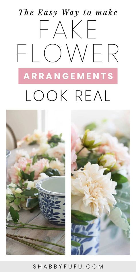 Fake flower arrangements with decorating tips and tricks that I use to create realistic looking centerpieces for tablescapes, weddings and more. #fakeflowers #fauxflowers #silkflowers #flowerarranging #floraldiy #floralcenterpieces #sff225