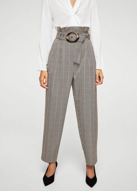 Pantaloni a quadri con cintura effetto tartaruga – Donna Checked trousers with turtle effect belt