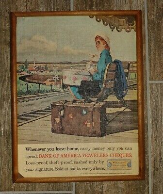 Ad Ebay Url Rare Vtg Bank Of America Advertising Travelers Cheque Lithograph On Canvas Woman In 2020 Travelers Checks Bank Of America Advertising Collectibles