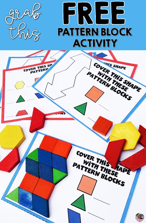 Grab a set of pattern block activity cards that are perfect for morning work in a morning tub or for math centers or fast finisher activities. Your kindergarten, first grade and second grade students Second Grade Centers, Second Grade Math, Grade 2, Patterning Kindergarten, Kindergarten Math, Kindergarten Drawing, Enrichment Activities, Montessori Activities, Kindergarten Morning Work