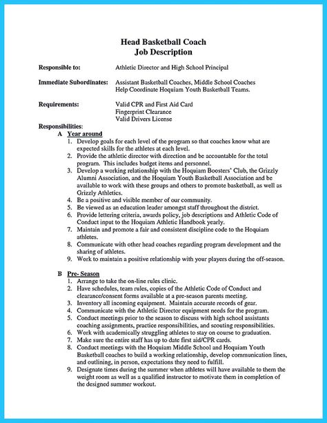 Cool Captivating Thing For Perfect And Acceptable Basketball Coach Resume Check More At Http Sne Perfect Resume Example Resume Coach Student Resume Template