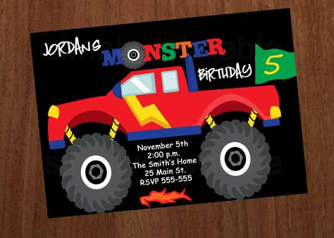 Monster Truck Boys Birthday Invitation. $12.00, via Etsy.