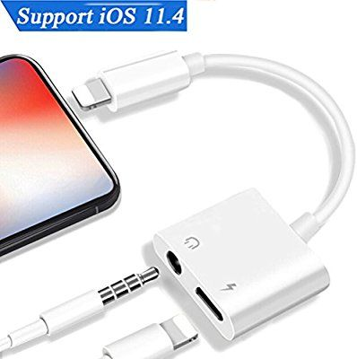 Amazon Com Lightning Jack Headphone Adapter For Iphone7 7plus Ipod Ipad X Iphone 8 8plus 2 In1 Earbuds Audio To 3 5mm Aux Splitter Ada Iphone Earbuds Iphone 7