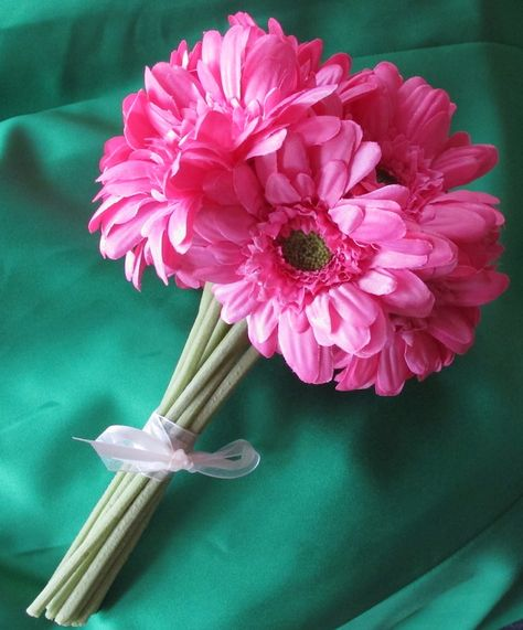 Gerbera Daisy Hand Tied Wedding Bouquet In Pink Bright And