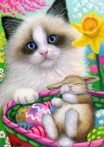 ACEO original ragdoll kitten cat bunny rabbit Easter eggs basket painting art #Miniature
