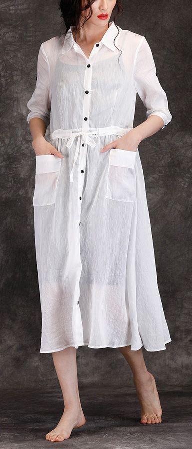 3b989e18041 Bohemian white linen clothes For Women boutique Outfits lapel pockets Robe  Summer Dresses