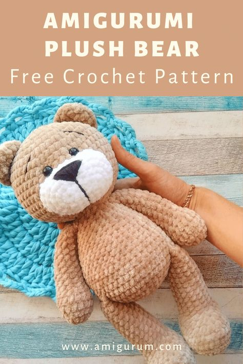 FREE plush bear pattern - - Learn how to make a cute plush bear with this FREE amigurumi pattern! With mm crochet hook and Himalaya Dolphin Baby yarn you'll get a bear about high. Crochet Pattern Free, Crochet Bear Patterns, Plush Pattern, Amigurumi Patterns, Doll Patterns, Teddy Bear Patterns Free, Knitted Teddy Bear, Diy Teddy Bear, Easy Knitting Projects