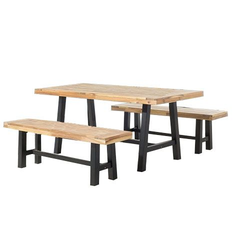 Table et 2 bancs de jardin en bois noir SCANIA - 38055 in ...