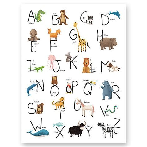 Spanish Alphabet Animals In 2020 Animal Alphabet Alphabet Art Alphabet Print