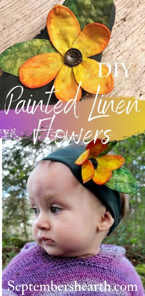 Making fabric flowers painted bright and beautiful colours. The possibilities are endless! #fabricpainting #linen #diy #fabricflowers #linenflowers