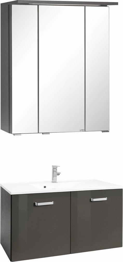Badmöbel-Set grau, »Ravenna«, pflegeleichte Oberfläche, Held Möbel ... | {Bad set möbel 60}
