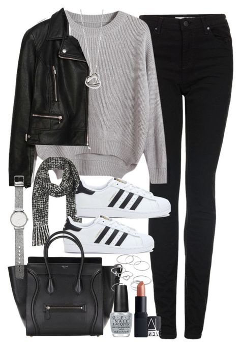 Adidas Shoes OFF! Outfit with a tote bag by ferned featuring mid-finger rings Chicnova Fashion round neck sweater 59 AUD / Zara biker jacket 140 AUD / Topshop skinny jeans 82 AUD / Adidas black and white shoes Jean Outfits, Winter Outfits, Casual Outfits, Cute Outfits, Fashion Outfits, Womens Fashion, Jeans Fashion, Zara Fashion, Fashion Ideas