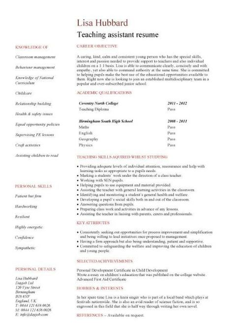 The 25+ best Teaching assistant job description ideas on Pinterest - teaching assistant resume sample