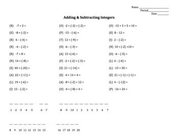 Adding And Subtracting Integers Worksheet With Images