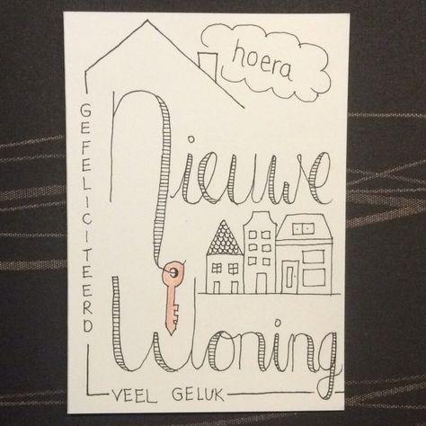 Ongebruikt Nieuwe woning - verhuiskaart - #handlettering   Verhuis kaart AY-45