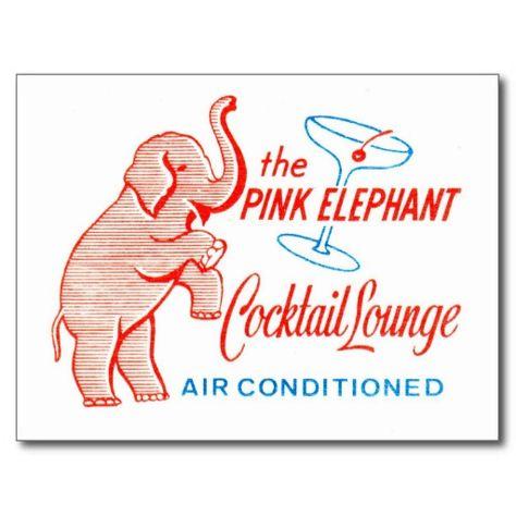 Kitsch Vintage Pink Elephant Cocktail Lounge Postcard Zazzle #pinkelephants