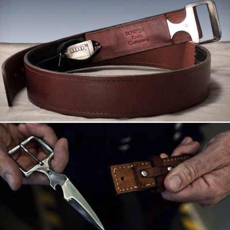 Carrying a knife can be annoying. You either have one clipped to your keychain which is useful in minor box cutting operations, or you carry a larger knife Swords And Daggers, Knives And Swords, Leather Working, Metal Working, Crea Cuir, Hidden Weapons, Belt Knife, Armas Ninja, Tactical Clothing