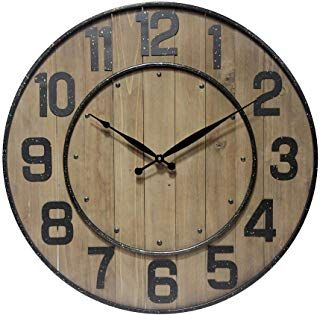 Infinity Instruments 23 Inch Large Wine Barrel Decorative Wall Clock Metal Wood Construction Standard Numbe Wine Barrel Wall Wall Clock Round Wall Clocks