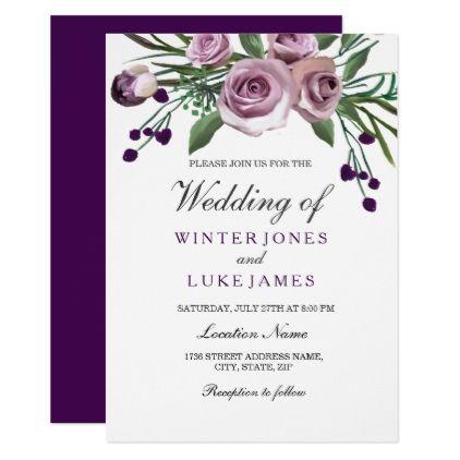 Elegant Purple Rose Floral Wedding Invite Zazzle Com In 2020