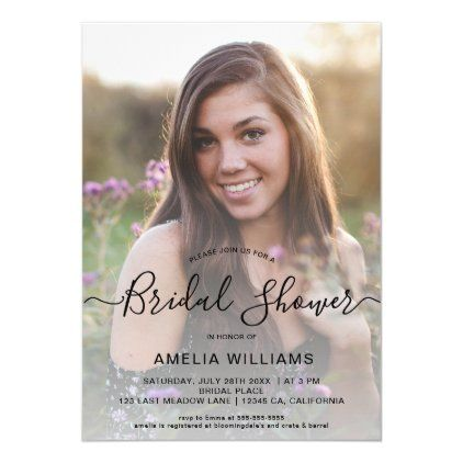 But there are plenty of party themed invitations too that include things like glasses of champagne and confetti. Personalized Photo Bridal Shower Invitation Zazzle Com Photo Bridal Shower Invitations Bridal Shower Invitations Bridal Shower