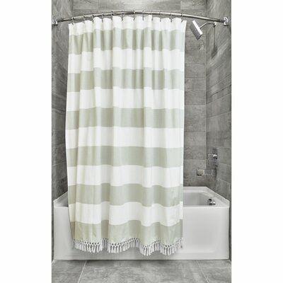 Breakwater Bay Rideout Wide Stripe Fringe Single Shower Curtain
