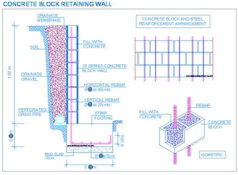 retaining wall footing rebar cinder block - Google Search