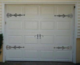 garage door hardware decorative. A garage door hardware set for those who love decorative  This ensemble contains two pair of Saxon Hinge Fronts and one dummy Curly